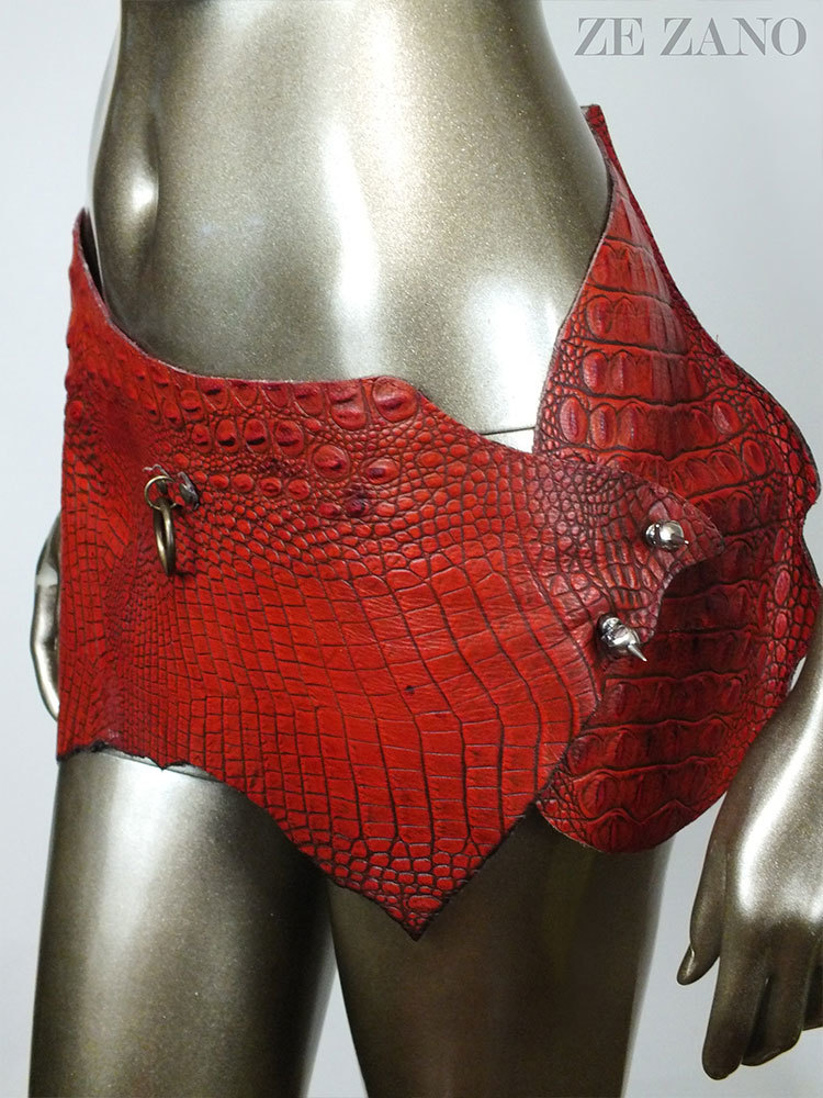 Sunset Gator Leather Skirt