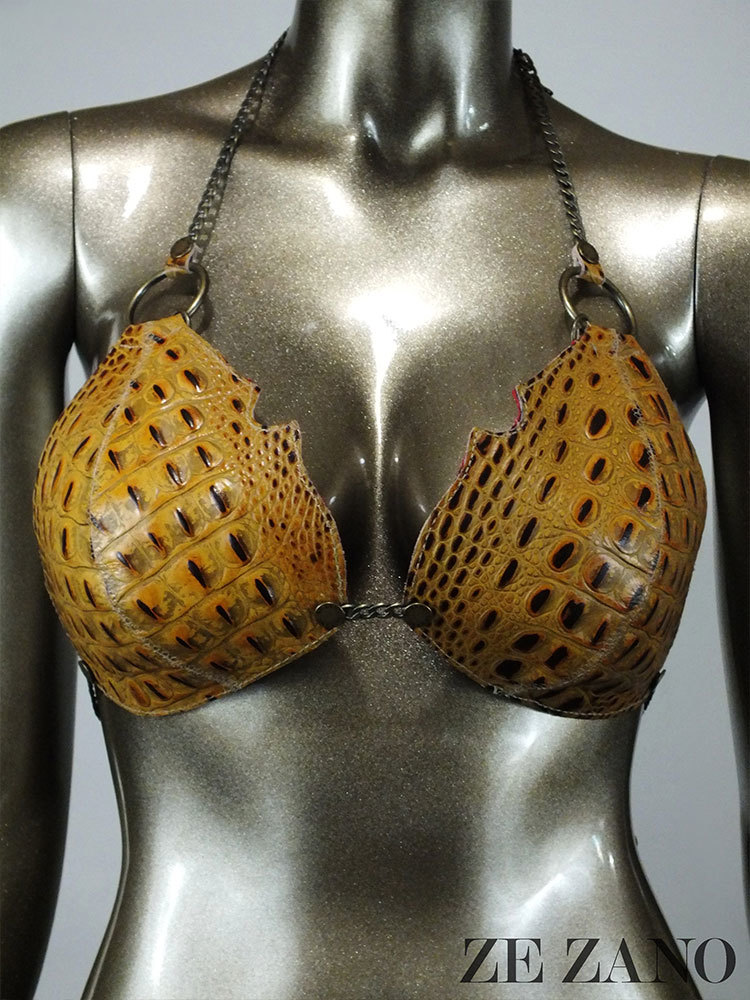 Gator in Chains leather Bra Top