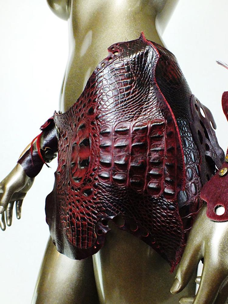 Indulgent Merlot Leather Skirt